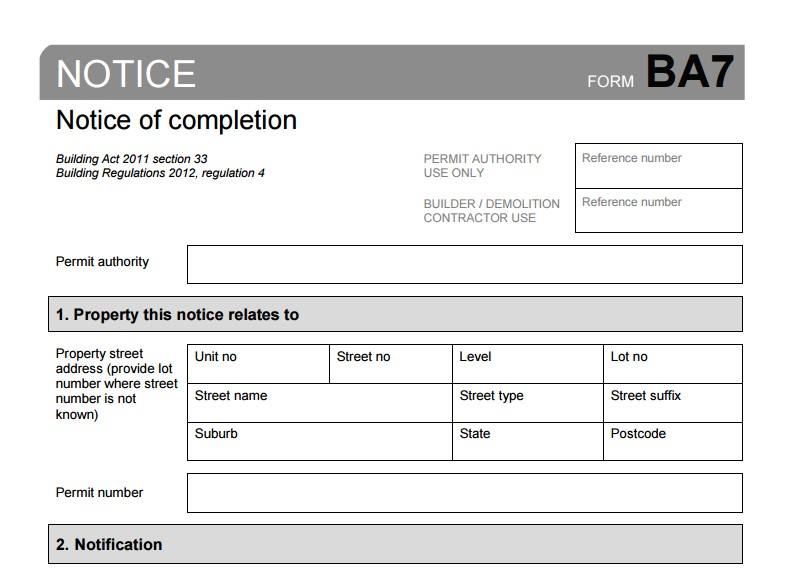 BA7 Notice of Completion