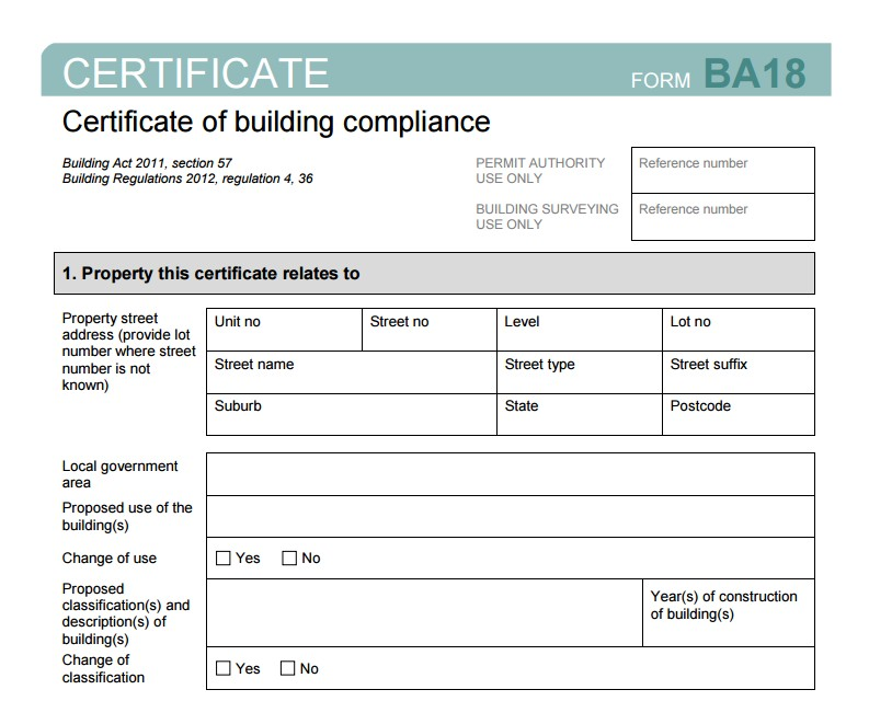 BA18 Certificate of Building Compliance
