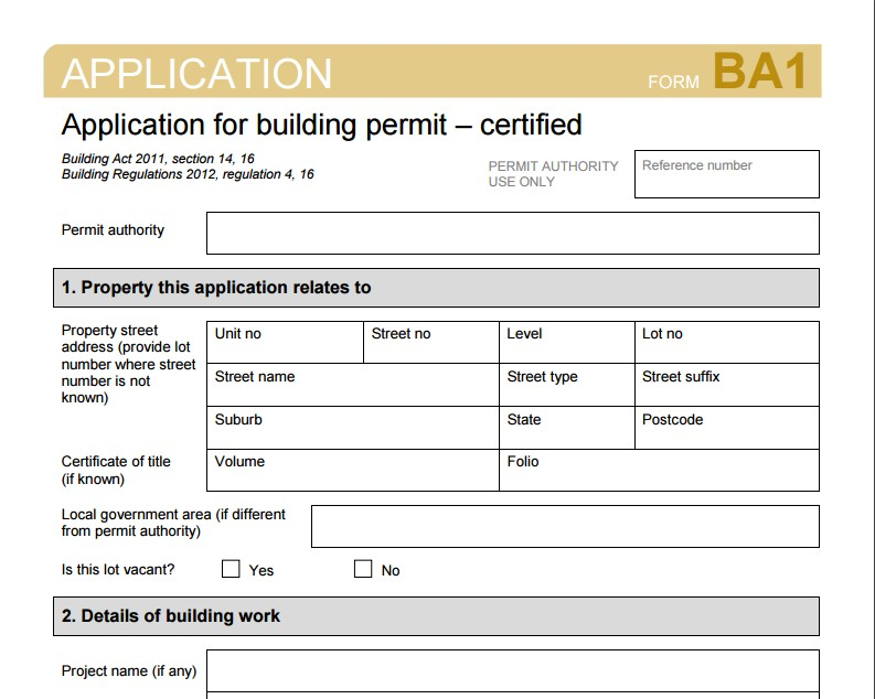 BA1 Certified Building Permit Application